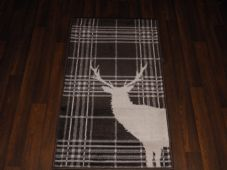 Modern Approx 4x2 60cm x 110cm Novelty range new checked stag brown/cream rugs